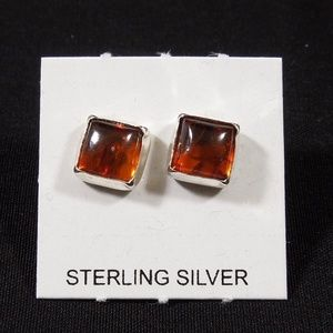 8mm Amber Sterling Silver Stud Earrings